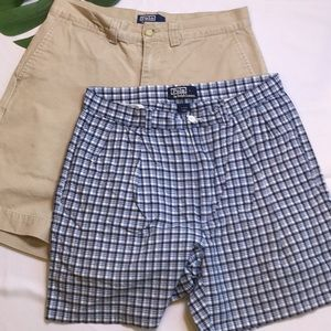 Bundle of 2 Polo Cotton Shorts Plaid and Solid 🐎